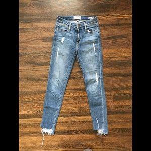 FRAME Le High Skinny Destress Cut Jeans 24